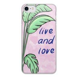 """Чехол для iPhone 8, объёмная печать """"Тропическая нежность"""" - любовь, романтика, листья, тропики, студентам"""