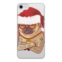 """Чехол для iPhone 8, объёмная печать """"Новогодний Мопс """" - с мопсами, мопс, с собаками, новогодние, на новый год"""