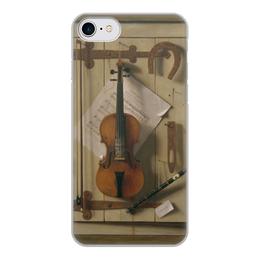 """Чехол для iPhone 8, объёмная печать """"Натюрморт со скрипкой (Уильям Харнетт)"""" - картина, скрипка, живопись, уильям харнетт"""