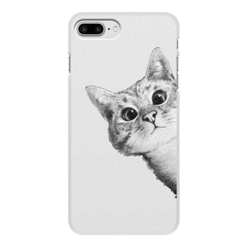 Чехол для iPhone 8 Plus, объёмная печать Printio Любопытный кот футболка стрэйч printio любопытный кот