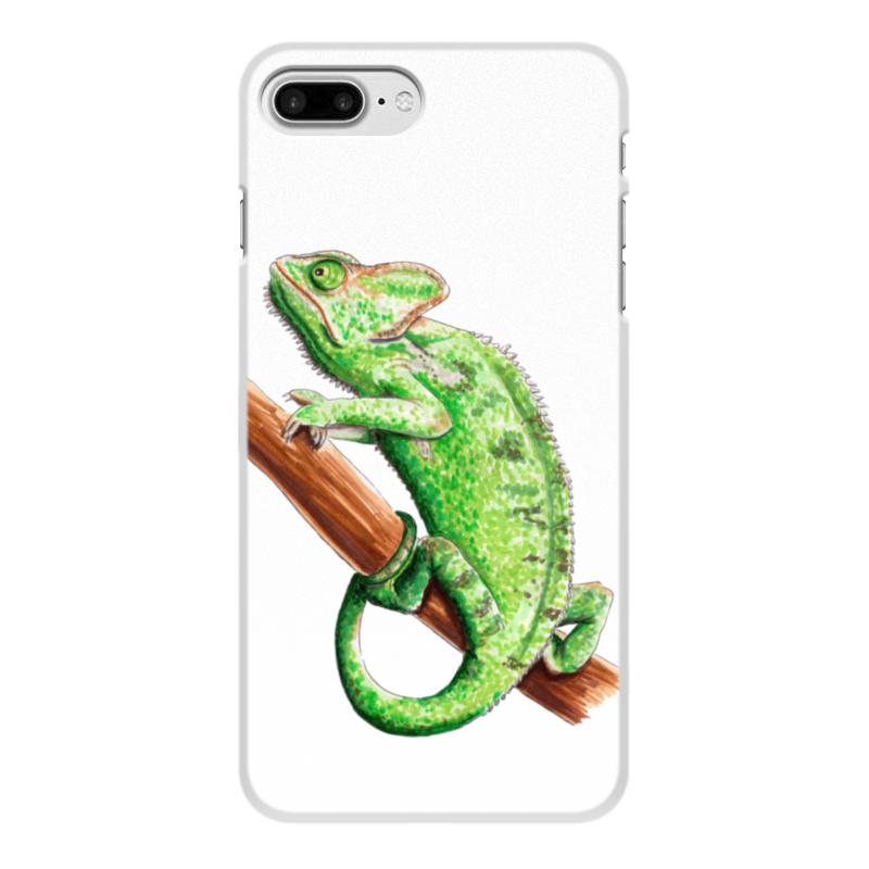 лучшая цена Чехол для iPhone 8 Plus, объёмная печать Printio Зеленый хамелеон на ветке