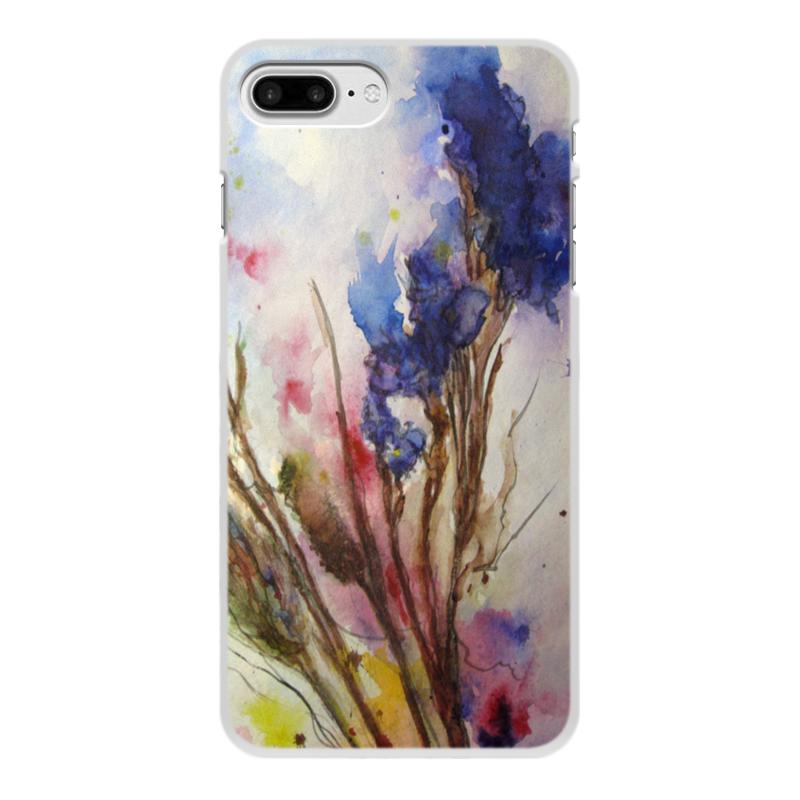 Чехол для iPhone 8 Plus, объёмная печать Printio Синие осенние цветы цена и фото