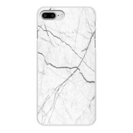 """Чехол для iPhone 8 Plus, объёмная печать """"Мрамор"""" - серый, белый, черный, иллюзия, эффект"""