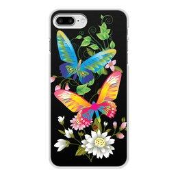 """Чехол для iPhone 8 Plus, объёмная печать """"БАБОЧКИ ФЭНТЕЗИ"""" - бабочки, цветы, стиль, красота, яркость"""
