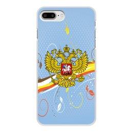 """Чехол для iPhone 8 Plus, объёмная печать """"Россия"""" - цветы, россия, герб, орел, хохлома"""