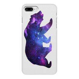 """Чехол для iPhone 8 Plus, объёмная печать """"Space animals"""" - space, bear, медведь, космос, астрономия"""