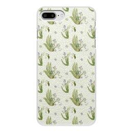 """Чехол для iPhone 8 Plus, объёмная печать """"ландыши"""" - цветы, весна, лес, букет, ландыши"""
