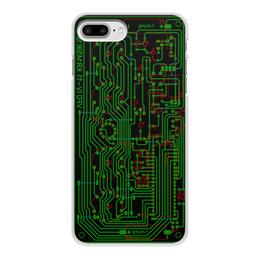 """Чехол для iPhone 8 Plus, объёмная печать """"Печатная плата"""" - микросхема, технологии, электрика, электроника, печатная плата"""