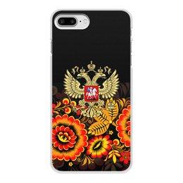 """Чехол для iPhone 8 Plus, объёмная печать """"Россия"""" - цветы, русский, россия, герб, орел"""