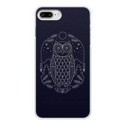 """Чехол для iPhone 8 Plus, объёмная печать """"Ночной страж"""" - ночь, сова, геометрия, минимализм, страж"""