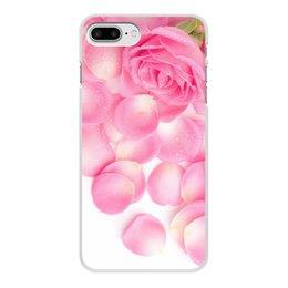 """Чехол для iPhone 8 Plus, объёмная печать """"Капли на лепестках розы"""" - цветы, 8 марта, розы, капли, день матери"""