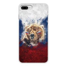 """Чехол для iPhone 8 Plus, объёмная печать """"Русский Медведь"""" - футбол, медведь, россия, флаг, триколор"""