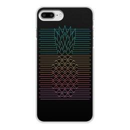 """Чехол для iPhone 8 Plus, объёмная печать """"Неоновый ананас """" - фрукты, ананас, неон, минимализм, линии"""
