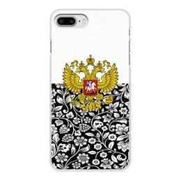 """Чехол для iPhone 8 Plus, объёмная печать """"Цветы и герб"""" - цветы, россия, герб, орел, хохлома"""