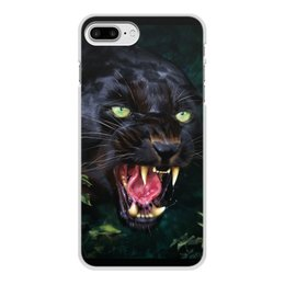 """Чехол для iPhone 8 Plus, объёмная печать """"ПАНТЕРА. ФЭНТЕЗИ"""" - стиль, глаза, красота, клыки, ярость"""