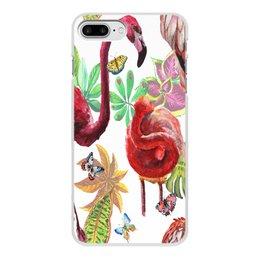 """Чехол для iPhone 8 Plus, объёмная печать """"Птица"""" - лето, птицы, природа, тропики, фламинго"""