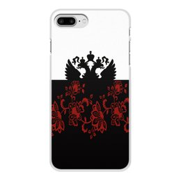 """Чехол для iPhone 8 Plus, объёмная печать """"Герб РФ"""" - цветы, россия, герб, орел, хохлома"""