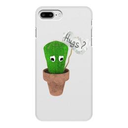 """Чехол для iPhone 8 Plus, объёмная печать """"Hugs?"""" - обнимашки, колючий, грустный, кактус, hugs"""