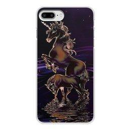 """Чехол для iPhone 8 Plus, объёмная печать """"ЕДИНОРОГ"""" - стиль, красота, вода, фэнтези, звездное небо"""