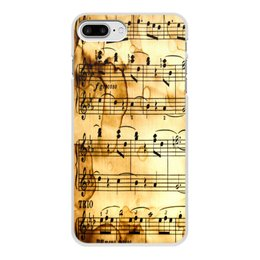 """Чехол для iPhone 8 Plus, объёмная печать """"Мелодия"""" - музыка, ноты, песня, мелодия, газета"""