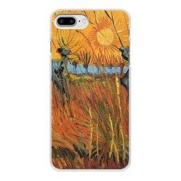 """Чехол для iPhone 8 Plus, объёмная печать """"Обрезанные ивы и закат (Винсент Ван Гог)"""" - картина, пейзаж, ван гог, живопись, постимпрессионизм"""