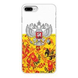 """Чехол для iPhone 8 Plus, объёмная печать """"Хохлома"""" - цветы, россия, герб, орел, хохлома"""