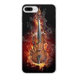 """Чехол для iPhone 8 Plus, объёмная печать """"МУЗЫКА ФЭНТЕЗИ"""" - огонь, скрипка, красота, яркость, стиль"""