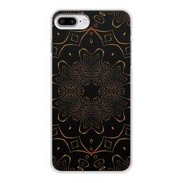 """Чехол для iPhone 8 Plus, объёмная печать """"Золотая Вязь"""" - абстракция, digital art, золотое на черном"""