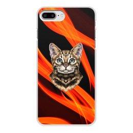"""Чехол для iPhone 8 Plus, объёмная печать """"Без названия"""" - кот, животные, котенок, огонь, пламя"""