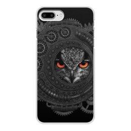 """Чехол для iPhone 8 Plus, объёмная печать """"Стимпанк сова"""" - сова, owl, steampunk, стимпанк, шестеренки"""