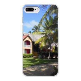 """Чехол для iPhone 8 Plus, объёмная печать """"""""Доминикана. Тропический сад"""""""" - лето, путешествия, travel, пальмы, доминикана"""