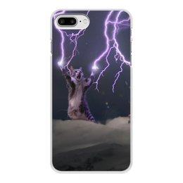 """Чехол для iPhone 8 Plus, объёмная печать """"Кот Тесла"""" - мем, гроза, cat, котик, молния"""
