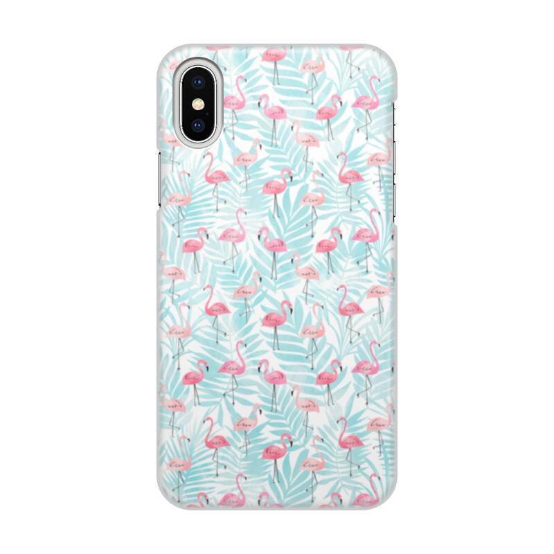 Чехол для iPhone X/XS, объёмная печать Printio Фламинго диагональ тотем шаблон мягкий чехол тонкий тпу резиновый силиконовый гель чехол для lg x cam