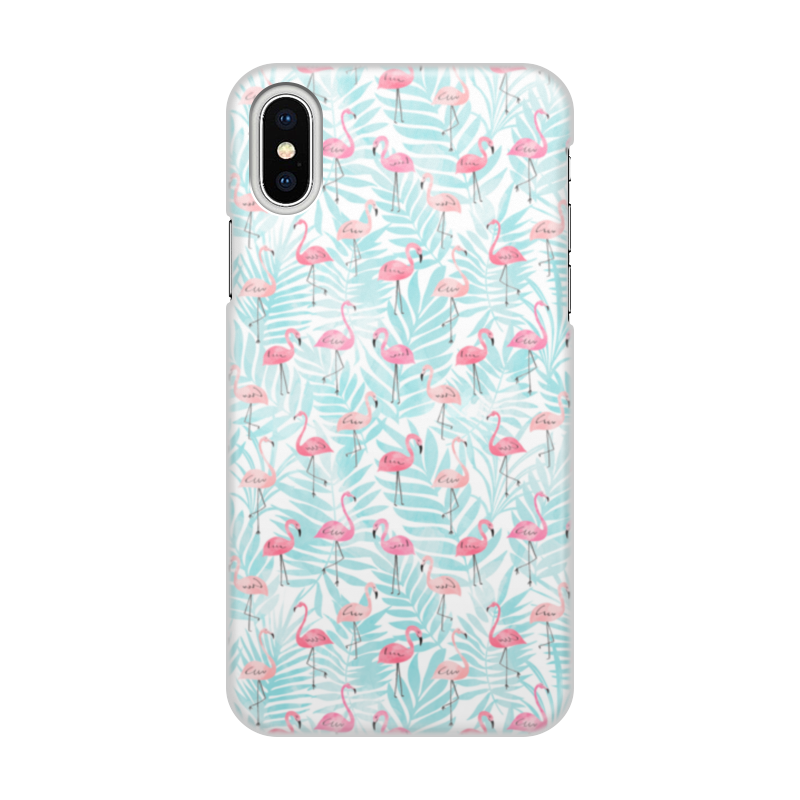 Чехол для iPhone X/XS, объёмная печать Printio Фламинго цена и фото