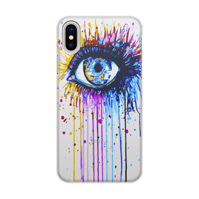 Чехол для iPhone X/XS, объёмная печать Printio Глаз. чехол для iphone x xs объёмная печать printio цветы