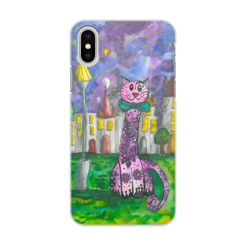 Чехол для iPhone X/XS, объёмная печать Printio Smily cat стоимость