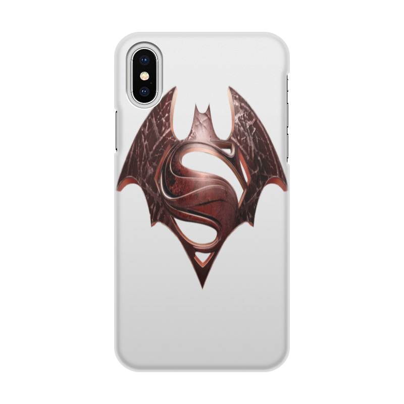 Чехол для iPhone X/XS, объёмная печать Printio Бэтмен против супермена