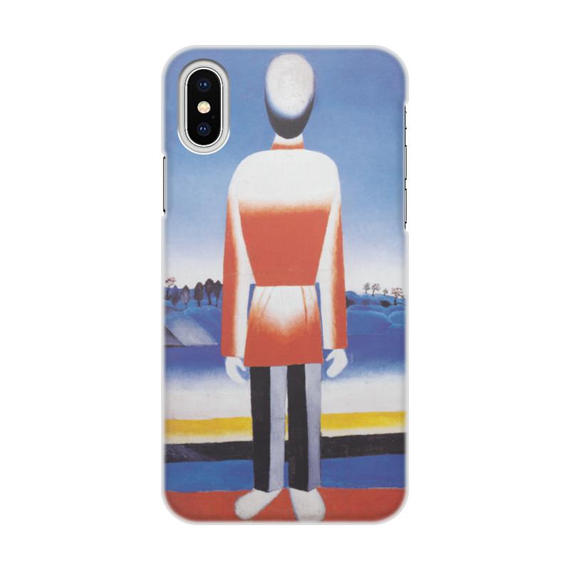 Чехол для iPhone X/XS, объёмная печать Printio Человек в супрематическом ландшафте чехол для iphone x xs объёмная печать printio дама и рояль казимир малевич