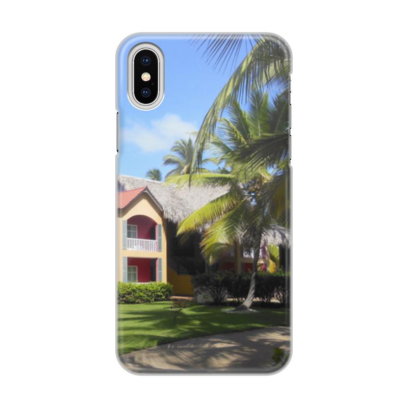 Чехол для iPhone X/XS, объёмная печать Printio доминикана. тропический сад чехол для iphone x xs объёмная печать printio открытая дверь в сад константин сомов