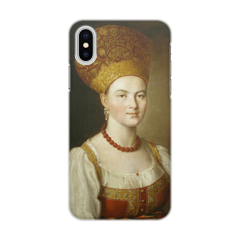 Чехол для iPhone X/XS, объёмная печать Printio Портрет неизвестной в русском костюме (аргунов) цена