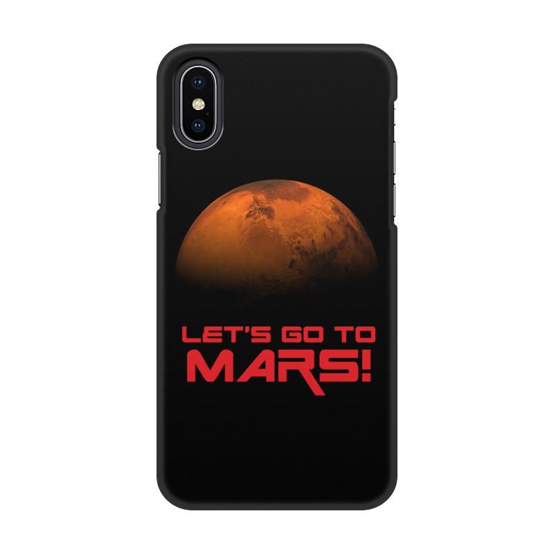 Чехол для iPhone X/XS, объёмная печать Printio Let' go to mars!