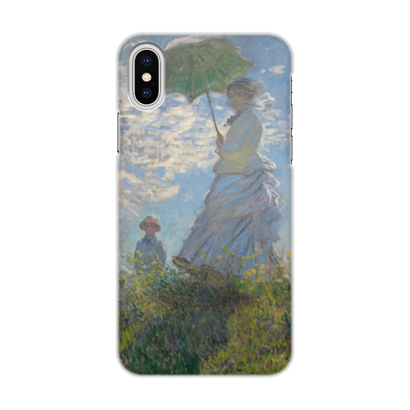 цены Чехол для iPhone X/XS, объёмная печать Printio Дама с зонтиком — мадам моне со своим сыном