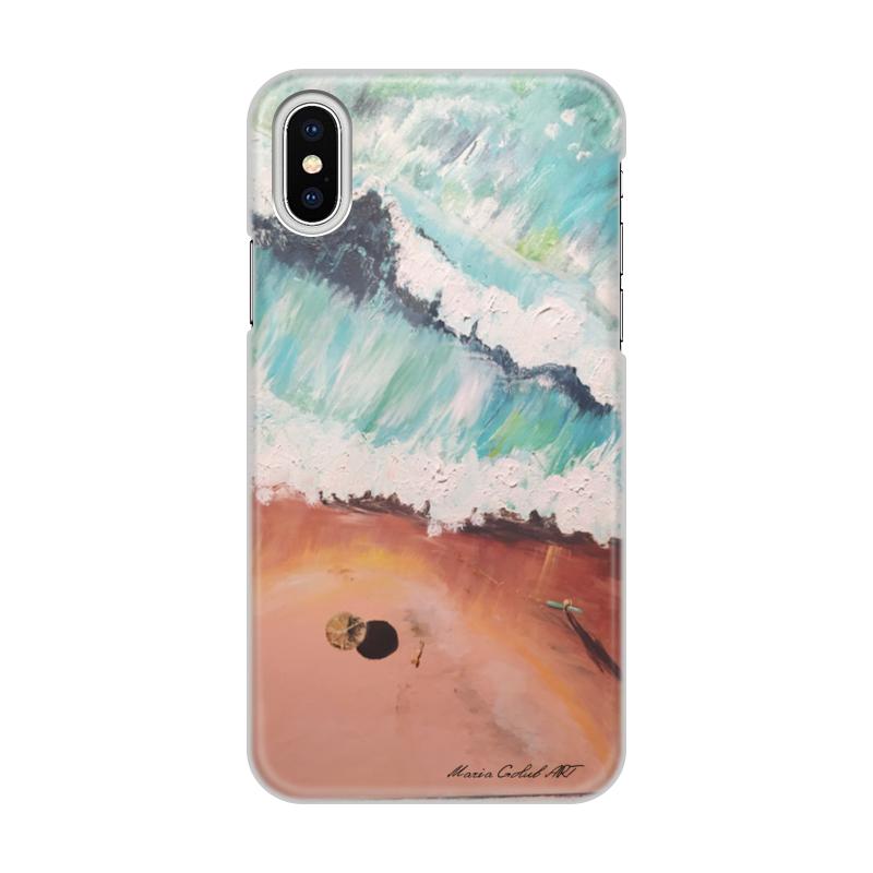 Чехол для iPhone X/XS, объёмная печать Printio Лазурный берег диагональ тотем шаблон мягкий чехол тонкий тпу резиновый силиконовый гель чехол для lg x cam