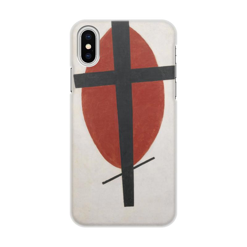 Чехол для iPhone X объёмная печать Printio Супрематизм черный крест на красном овале