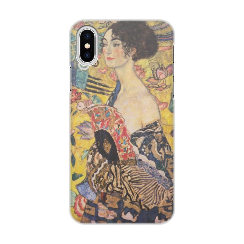 цена Чехол для iPhone X/XS, объёмная печать Printio Дама с веером (густав климт)