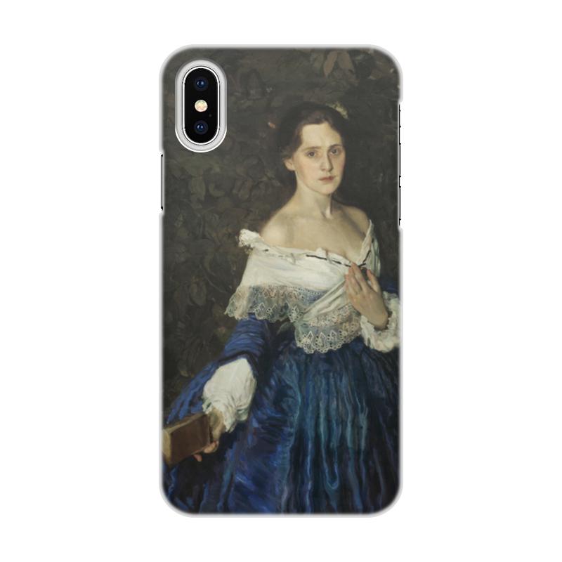 Чехол для iPhone X/XS, объёмная печать Printio Дама в голубом (картина сомова) jp 38 19 картина дама pavone
