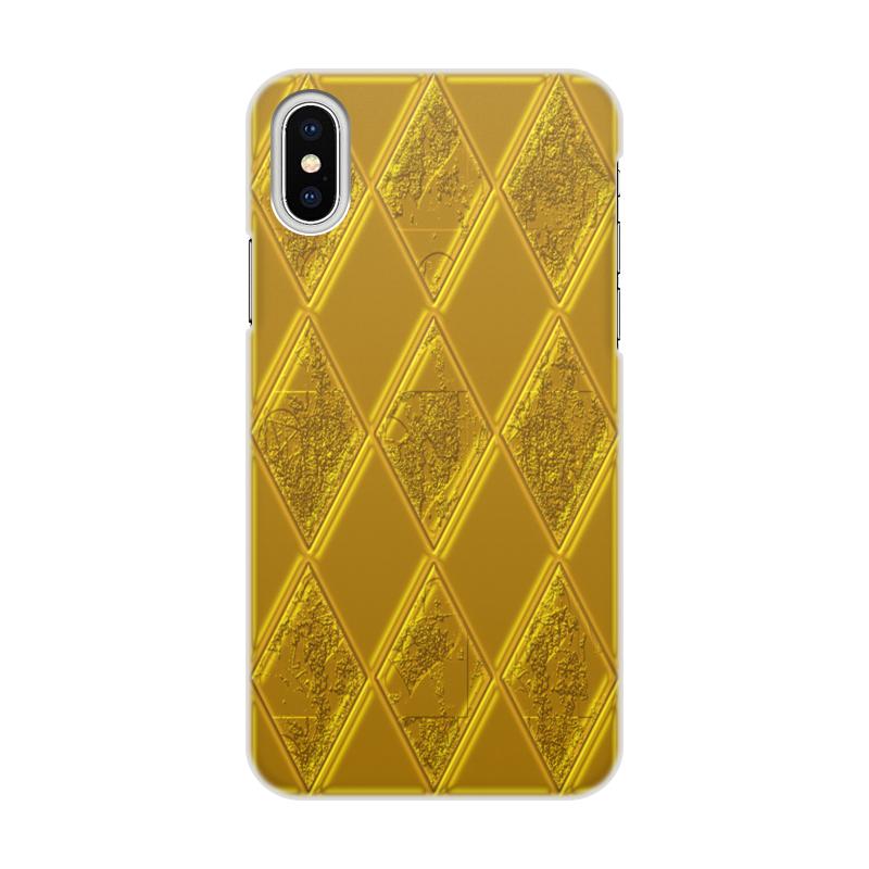 Чехол для iPhone X/XS, объёмная печать Printio Золотой ромб стоимость