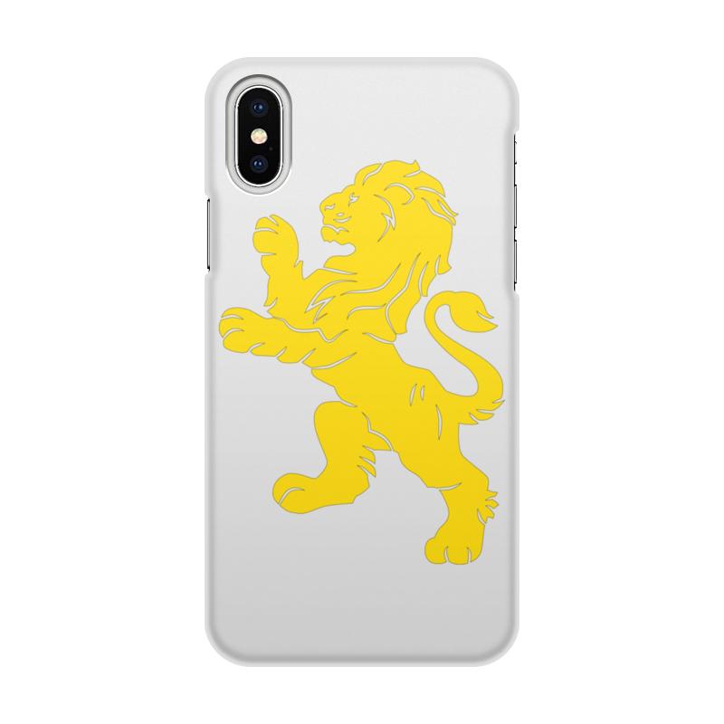 Чехол для iPhone X/XS, объёмная печать Printio Золотой лев стоимость