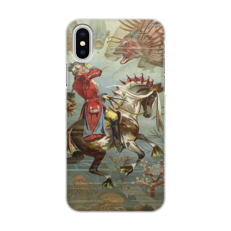 где купить Чехол для iPhone X/XS, объёмная печать Printio Барон мюнхгаузен дешево