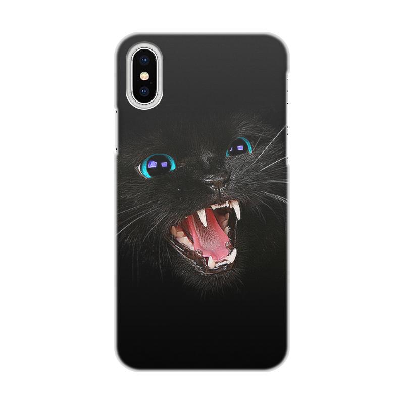 лучшая цена Чехол для iPhone X/XS, объёмная печать Printio Черная кошка